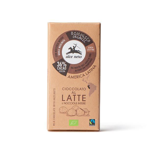 Cioccolato al latte 36% con nocciole intere biologico