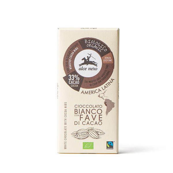 Cioccolato bianco con fave di cacao biologico