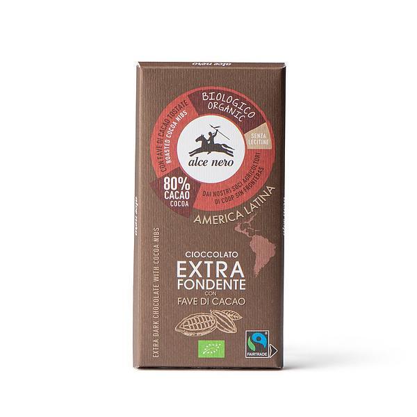 Cioccolato extra fondente 80% con fave di cacao biologico