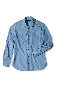 Slim-fit shirt with classic collar in chambray cotton
