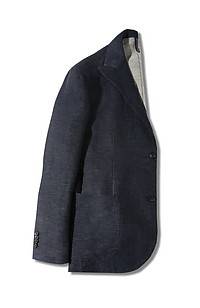 Single-breasted slim-fit unlined denim cotton jacket