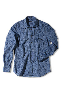 Printed linen and cotton slim-fit shirt with French collar