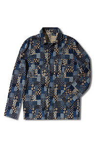 Regular-fit overshirt with classic collar and Japanese-inspired print