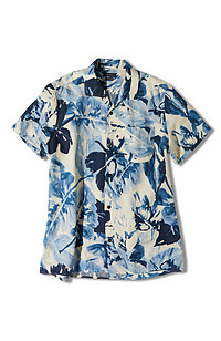 Short-sleeve regular-fit linen overshirt with floral print