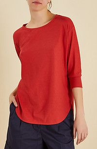 Regular fit crewneck with 3/4 sleeves in IceCotton