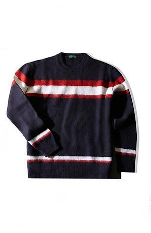 Blue striped crewneck sweater in cloud effect lambswool