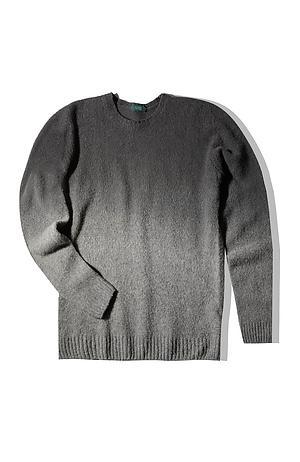 Grey lambswool degradé effect crewneck sweater