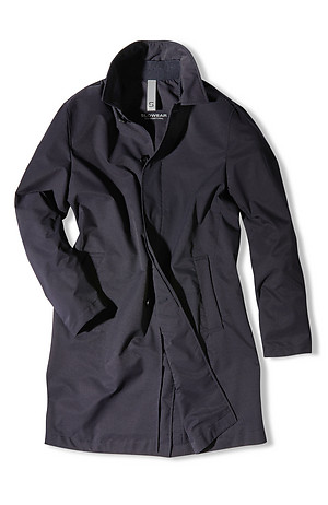 Technical fabric trench coat